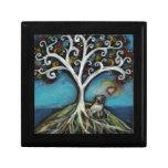 Árbol de amor del barro amasado de la vida caja de recuerdo