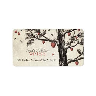Árbol de amor del vintage etiqueta de dirección