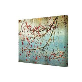 Árbol de arce de florecimiento en la charca - prim impresión en lienzo