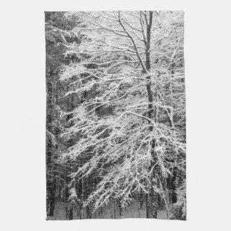 Árbol de arce resumido en nieve toallas de cocina