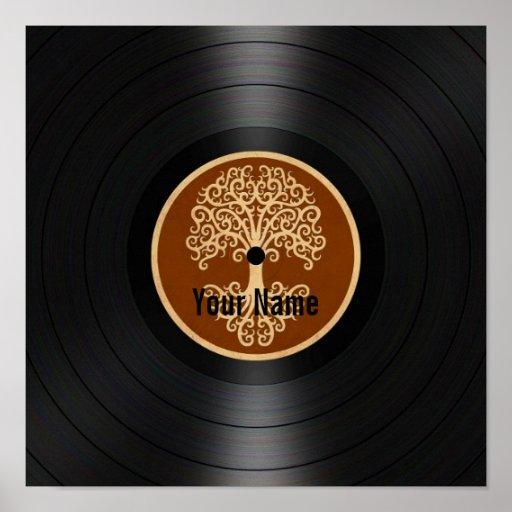 Árbol de Brown del disco de vinilo personalizado d Posters