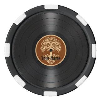 Árbol de Brown del disco de vinilo personalizado Juego De Fichas De Póquer