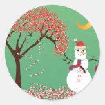 Árbol de Candycane con el muñeco de nieve Etiqueta