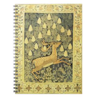 Árbol de castaña del conejo de los ciervos del libro de apuntes con espiral