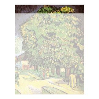 Árbol de castañas en el flor, Vincent van Gogh. Plantilla De Membrete