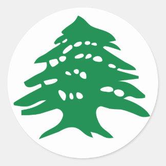 Árbol de cedro verde de Líbano Pegatina Redonda