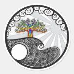 Árbol de Chakra Etiquetas Redondas