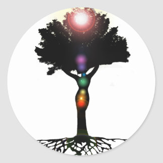 Árbol de Chakra Pegatina Redonda