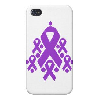 Árbol de cinta del navidad de la enfermedad de Alz iPhone 4 Carcasa