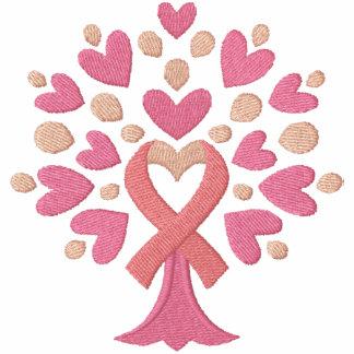 Árbol de cinta rosado sudadera bordada con serigrafía