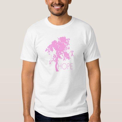 Árbol de cinta rosado de la esperanza remeras