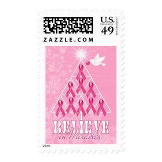 Árbol de cinta rosado del navidad de la conciencia sellos