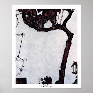 Árbol de ciruelo de Schiele Egon Póster