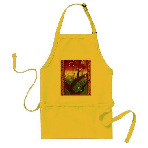 Árbol de ciruelo floreciente de Van Gogh Delantal