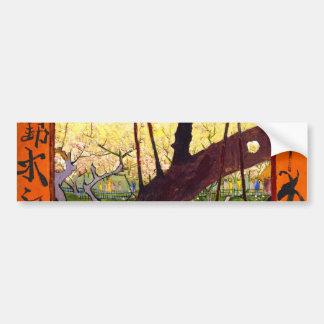 Árbol de ciruelo floreciente de Van Gogh después Pegatina Para Auto