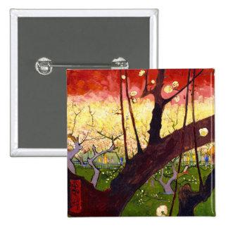 Árbol de ciruelo floreciente de Van Gogh después Pin Cuadrada 5 Cm