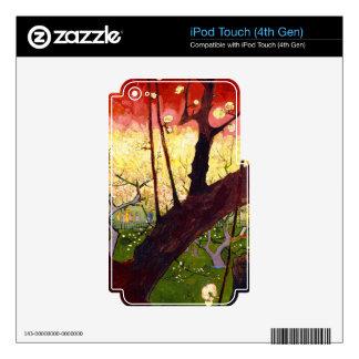 Árbol de ciruelo floreciente de Van Gogh después Skins Para iPod Touch 4G