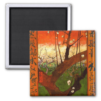 Árbol de ciruelo floreciente de Van Gogh Imán Cuadrado