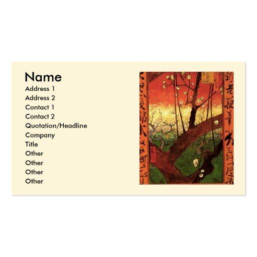 Árbol de ciruelo floreciente japonés de Van Gogh,  Tarjetas Personales