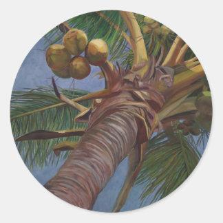 Árbol de coco pegatina redonda