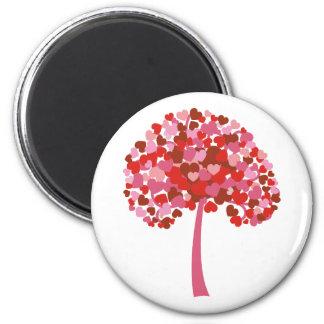 Árbol de corazones imán redondo 5 cm