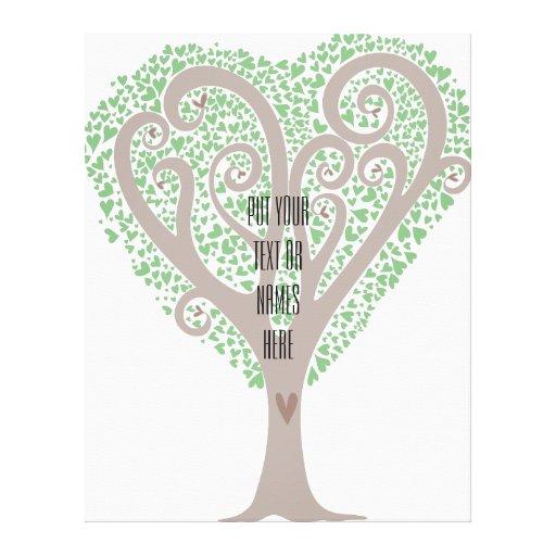 Árbol de corazones impresión en lona estirada
