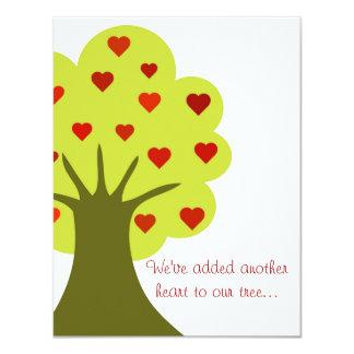 """Árbol de corazones invitación 4.25"""" x 5.5"""""""