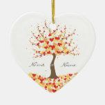 Árbol de corazones - ornamento del boda de la caíd ornamento de navidad