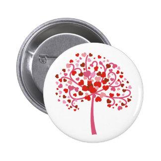 Árbol de corazones pin redondo de 2 pulgadas