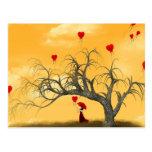Árbol de corazones quebrados postales