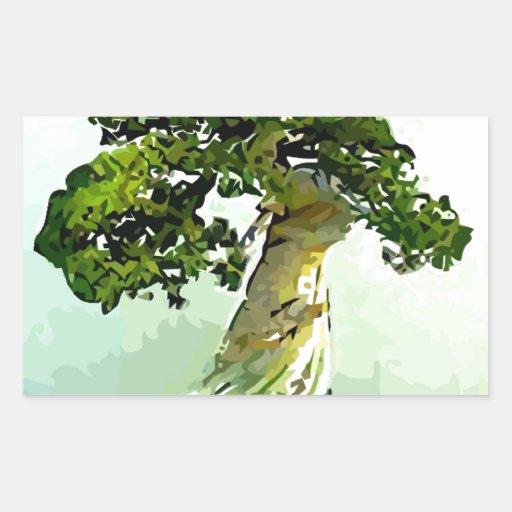 Árbol de Cypress de los bonsais Pegatina Rectangular