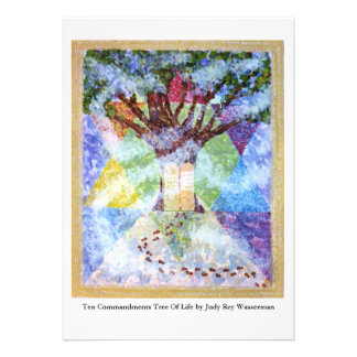 Árbol de diez mandamientos de la vida invitaciones personales