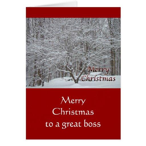 Árbol de Dogwood del navidad en la nieve para Boss Tarjeta De Felicitación
