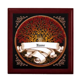 Árbol de familia carmesí cajas de recuerdo