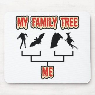 Árbol de familia de Halloween Alfombrillas De Ratón