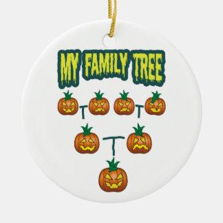 Árbol de familia de la calabaza adorno navideño redondo de cerámica