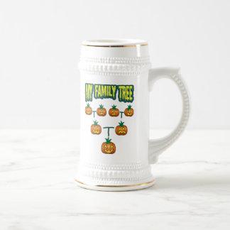 Árbol de familia de la calabaza jarra de cerveza