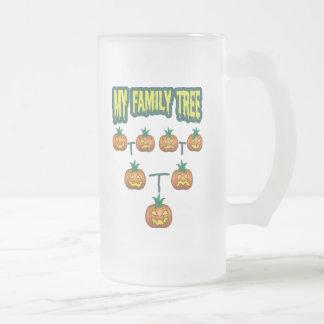 Árbol de familia de la calabaza taza de cristal