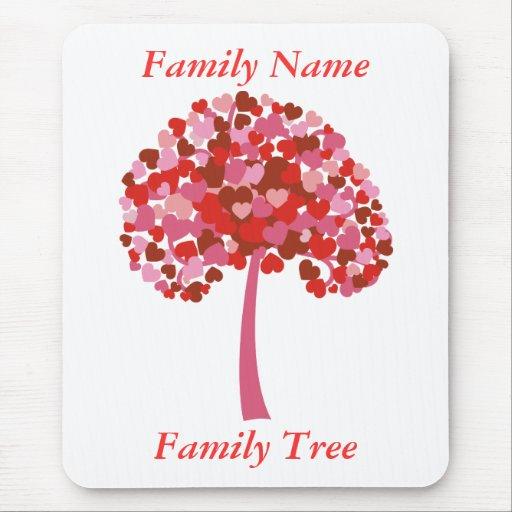Árbol de familia de la camisa de los corazones - p alfombrilla de ratones