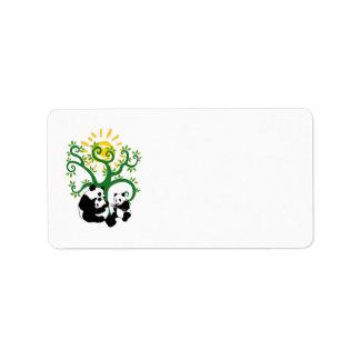 Árbol de familia de la panda etiqueta de dirección