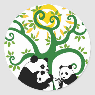Árbol de familia de la panda pegatinas redondas