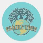 Árbol de familia de la tierra pegatinas redondas