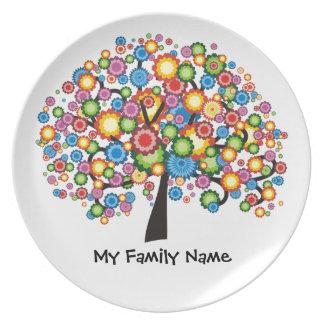 Árbol de familia del deslumbramiento platos para fiestas