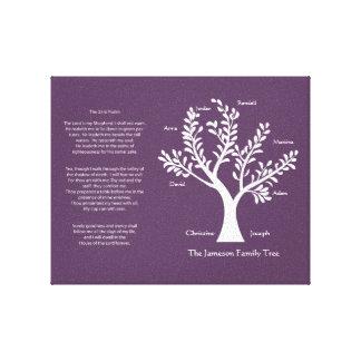 Árbol de familia del salmo 23 en Deep Purple Impresiones En Lona Estiradas