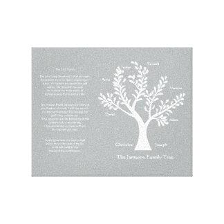 Árbol de familia del salmo 23 en gris caliente impresión en lona estirada