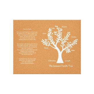 Árbol de familia del salmo 23 en naranja lienzo envuelto para galerías