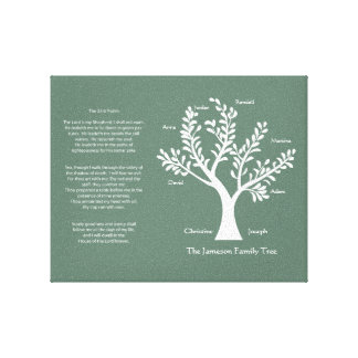 Árbol de familia del salmo 23 en pino impresiones en lienzo estiradas