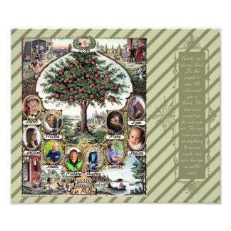 Árbol de familia del vintage impresión fotográfica