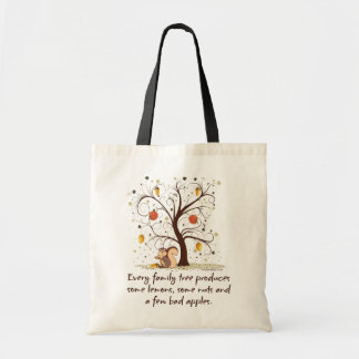 Árbol de familia divertido bolsa tela barata