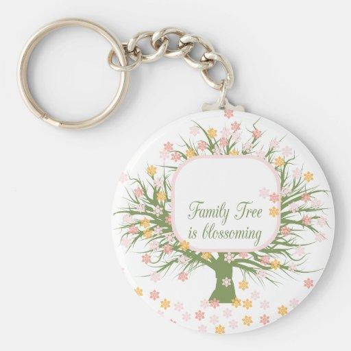 Árbol de familia floreciente llaveros personalizados